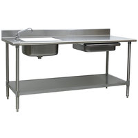 Eagle Group PT 3072 Stainless Steel Prep Table with Sink, Drawer, Cutting Board, and Undershelf - 72 inch