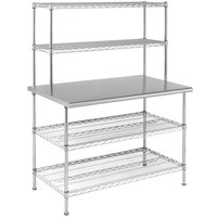 Eagle Group T3048EBW-2 30 inch x 48 inch Stainless Steel Table with 2 Chrome Wire Undershelves and 2 Chrome Wire Overshelves