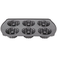 Wilton 2105-445 Excelle Elite 6 Mold Fluted Non-Stick Mini Bundt Cake Pan