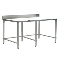 Eagle Group CT2496S-BS 24 inch x 96 inch Poly Top Stainless Steel Cutting Table - Open Base