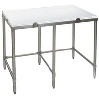 Eagle Group CT24108S 24 inch x 108 inch Poly Top Stainless Steel Cutting Table - Open Base
