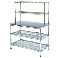 Eagle Group T2448EW-2 24 inch x 48 inch Stainless Steel Table with 2 Chrome Wire Undershelves and 2 Chrome Wire Overshelves