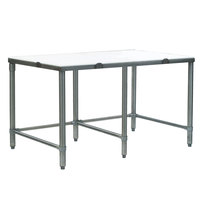 Eagle Group CT3084S 30 inch x 84 inch Poly Top Stainless Steel Cutting Table - Open Base
