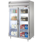 Beverage-Air HRPS2-1G-LED Horizon Series 52 inch Glass Door All Stainless Steel Reach-In Refrigerator with LED Lighting