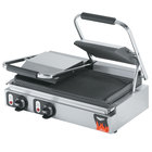 """Vollrath 40795-C 19"""" x 9 1/8"""" Grooved Top &amp&#x3b; Bottom Double Panini Sandwich Grill - 220V (Canadian Use Only)"""