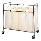 Chrome Four Compartment Laundry Cart with Canvas Bags