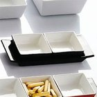 CAC F-2S-BK Fortune 8 3/4 inch x 3 1/2 inch Rectangular China Tasting Tray with Handles - Black - 24 / Case