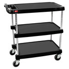 "Metro myCart MY1627-34BL Black Utility Cart with Three Shelves and Chrome Posts - 18"" x 32"""