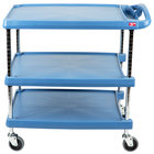 Metro myCart MY2030-34BU Blue Antimicrobial Utility Cart with Three Shelves and Chrome Posts - 24