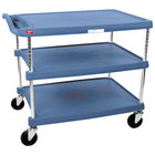 Metro myCart MY2636-35BU Blue Antimicrobial Utility Cart with Three Shelves and Chrome Posts - 28
