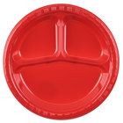 Creative Converting 019548 10 inch 3 Compartment Classic Red Plastic Plate - 200/Case