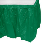 Creative Converting 10020 14' x 29 inch Emerald Green Disposable Plastic Table Skirt