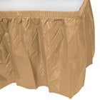 Creative Converting 10024 14' x 29 inch Glittering Gold Disposable Plastic Table Skirt