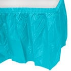 Creative Converting 10539 14' x 29 inch Bermuda Blue Disposable Plastic Table Skirt