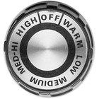 All Points 22-1555 2 inch Black and Silver Broiler / Range Knob (Off, Warm, Low, Medium, Med-Hi, High)