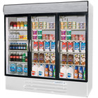 Beverage Air MMR72-1-W-LED Marketmax 75 inch Three Section Glass Door White Merchandising Refrigerator with LED Lighting - 72 Cu. Ft.