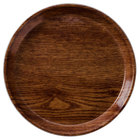 Cambro 1950304 19 1/2 inch Low Profile Round Country Oak Customizable Fiberglass Camtray - 12/Case