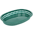 Tablecraft 1076FG 10 5/8 inch x 7 inch x 1 1/2 Forest Green Oval Chicago Platter Basket - 12/Pack