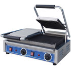 Globe GPGDUE10 Bistro Series Double Sandwich Grill with Grooved Plates - 20 inch x 10 inch Cooking Surface - 208/240V, 3200W