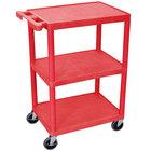 Luxor HE34-RD Red 3 Shelf Utility Cart - 18 inch x 24 inch x 32 1/2 inch