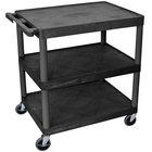 Luxor HE33-B Black 3 Flat Shelf Structural Foam Plastic Utility Cart - 24 inch x 32 inch x 33 1/2 inch