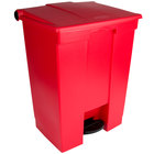 Rubbermaid FG614500RED 72 Qt. / 18 Gallon Red Rectangular Step-On Trash Can