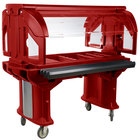 Cambro VBR5158 Hot Red 5' Versa Food / Salad Bar with Standard Casters