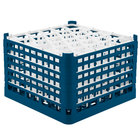Vollrath 52849 Signature Lemon Drop Full-Size Royal Blue 30-Compartment 11 3/8 inch XXXX-Tall Glass Rack
