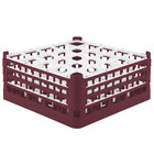 Vollrath 52712 Signature Full-Size Burgundy 25-Compartment 7 1/8 inch X-Tall Glass Rack