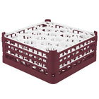 Vollrath 52706 Signature Lemon Drop Full-Size Burgundy 20-Compartment 7 1/8 inch X-Tall Glass Rack