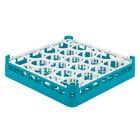 Vollrath 52692 Signature Lemon Drop Full-Size Light Blue 20-Compartment 3 1/4 inch Short Plus Glass Rack