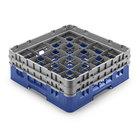 Cambro 16S958168 Camrack Customizable 10 1/8 inch High Customizable Blue 16 Compartment Glass Rack