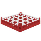 Vollrath 52694 Signature Full-Size Red 16-Compartment 2 13/16 inch Short Glass Rack