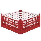 Vollrath 52712 Signature Full-Size Red 25-Compartment 7 1/8 inch X-Tall Glass Rack