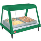 Hatco GRHDH-4P Hunter Green Stainless Steel Glo-Ray 59 3/8 inch Full Service Single Shelf Merchandiser with Humidity Chamber - 120/240V