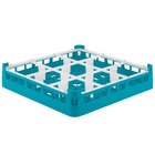 Vollrath 52726 Signature Full-Size Light Blue 9-Compartment 2 13/16 inch Short Glass Rack