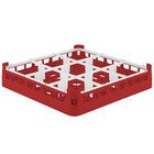 Vollrath 52726 Signature Full-Size Red 9-Compartment 2 13/16 inch Short Glass Rack