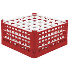 Vollrath 52717 Signature Full-Size Red 36-Compartment 8 1/2 inch XX-Tall Glass Rack