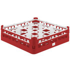 Vollrath 52727 Signature Full-Size Red 9-Compartment 4 5/16 inch Medium Glass Rack