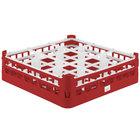 Vollrath 52727 Signature Full-Size Red 9-Compartment 4 5/16 inch Medium Glass Rack