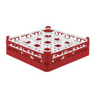 Vollrath 52718 Signature Full-Size Red 16-Compartment 4 5/16 inch Medium Glass Rack