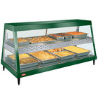Hatco GRHDH-4PD Hunter Green Stainless Steel Glo-Ray 59 3/8 inch Full Service Dual Shelf Merchandiser with Humidity Chamber - 120/240V