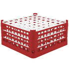 Vollrath 52725 Signature Full-Size Red 49-Compartment 8 1/2 inch XX-Tall Glass Rack
