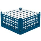 Vollrath 52717 Signature Full-Size Royal Blue 36-Compartment 8 1/2 inch XX-Tall Glass Rack