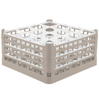Vollrath 52721 Signature Full-Size Beige 16-Compartment 8 1/2 inch XX-Tall Glass Rack