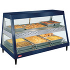 Hatco GRHDH-3PD Navy Blue Stainless Steel Glo-Ray 46 3/8 inch Full Service Dual Shelf Merchandiser with Humidity Chamber