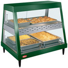 Hatco GRHDH-2PD Hunter Green Stainless Steel Glo-Ray 33 3/8 inch Full Service Dual Shelf Merchandiser with Humidity Chamber