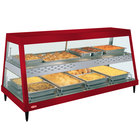Hatco GRHDH-4PD Warm Red Stainless Steel Glo-Ray 59 3/8 inch Full Service Dual Shelf Merchandiser with Humidity Chamber - 120/240V
