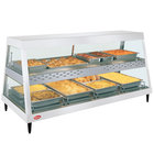 Hatco GRHDH-4PD White Granite Stainless Steel Glo-Ray 59 3/8 inch Full Service Dual Shelf Merchandiser with Humidity Chamber - 120/208V