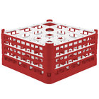 Vollrath 52721 Signature Full-Size Red 16-Compartment 8 1/2 inch XX-Tall Glass Rack